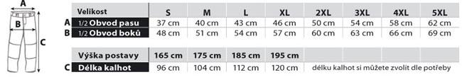 tabulak velikosti baseball kalhoty paánské