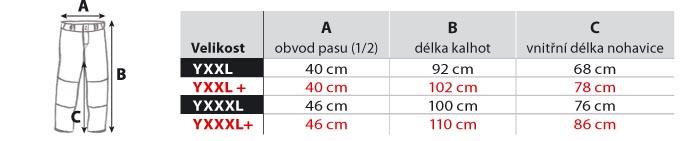tabulak velikosti baseball kalhoty dětské 2XL-3XL