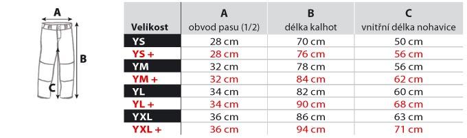 tabulak velikosti baseball kalhoty dětské YS-XL